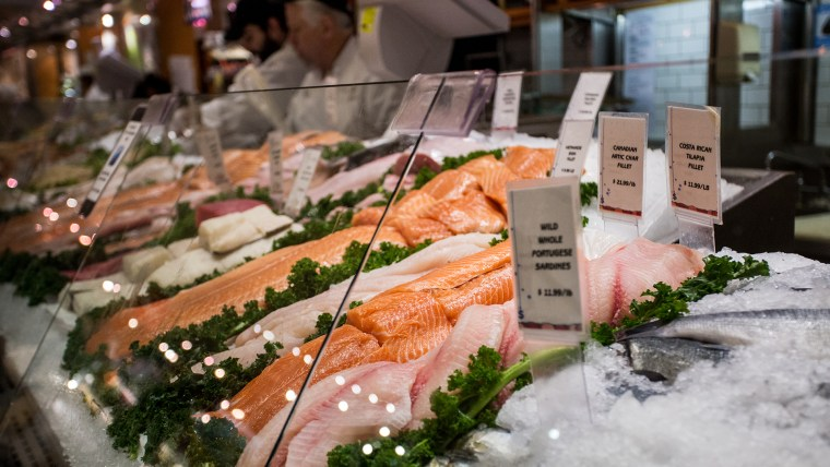 Display of fresh fish for sale at local market in Grand Central Station