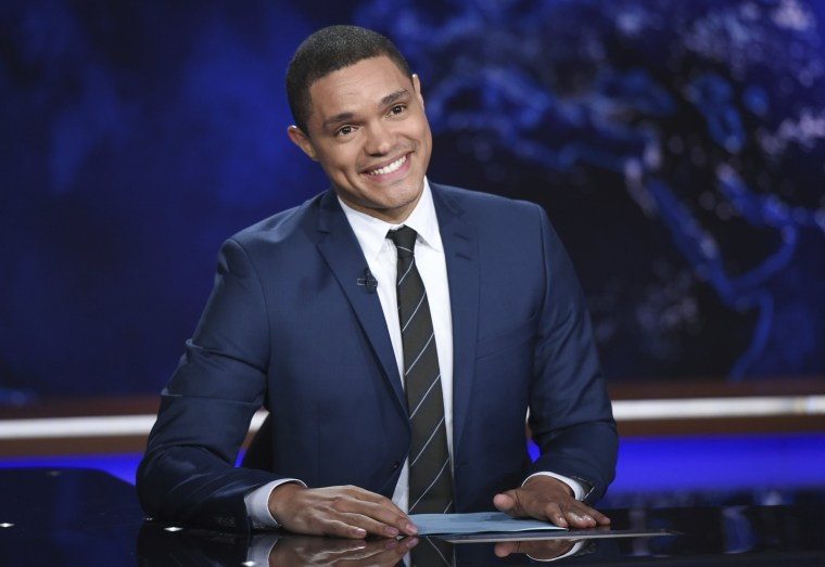 """Image: Trevor Noah appears during a taping of """"The Daily Show,"""""""