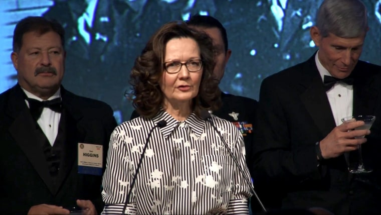 Image: Gina Haspel speaks at the 2017 William J. Donovan Award Dinner, Oct. 2017.