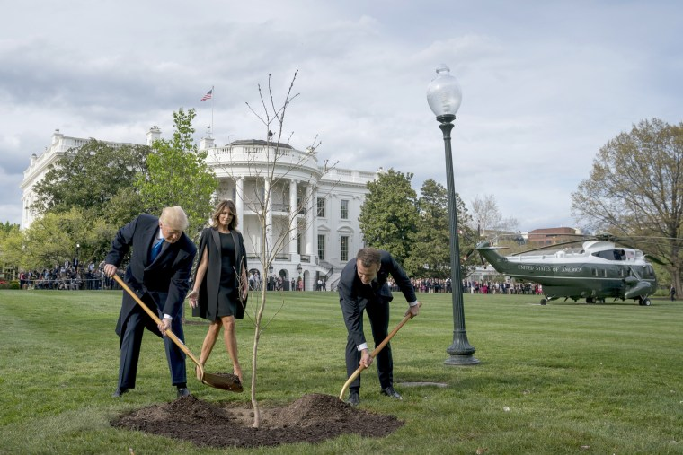 Image: First lady Melania Trump watches as President Donald Trump and French President Emmanuel Macron participate in a tree planting ceremony on the South Lawn of the White House in Washington, April 23, 2018.