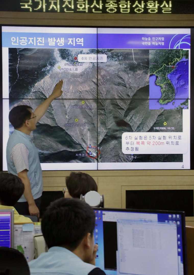 Image: Map showing artificial earthquake detected from North Korea's Punggye-ri nuclear test site