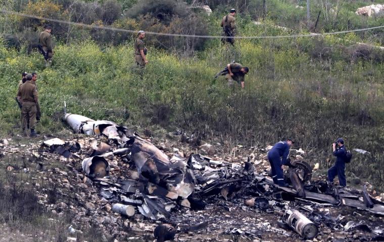 Image: Israeli fighter plane crashed in Israeli territory