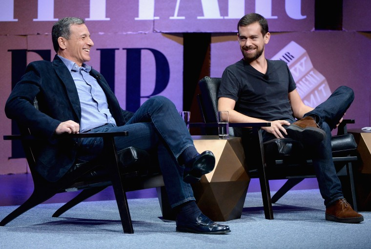Image: Bob Iger and Jack Dorsey speak during the Vanity Fair New Establishment Summit