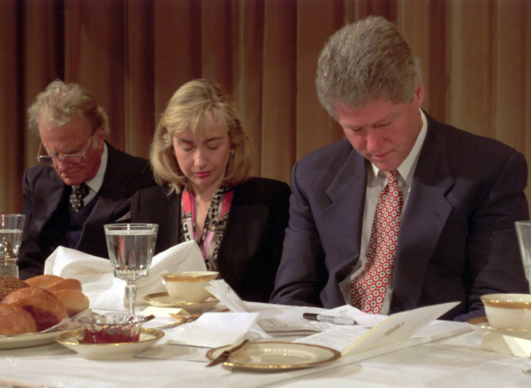Image: Hillary Clinton, Billy Graham, Bill Clinton