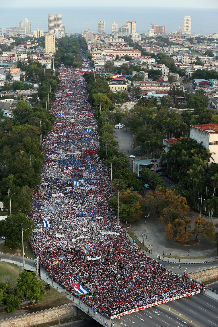 Image: People march during the May Day rally in Havana