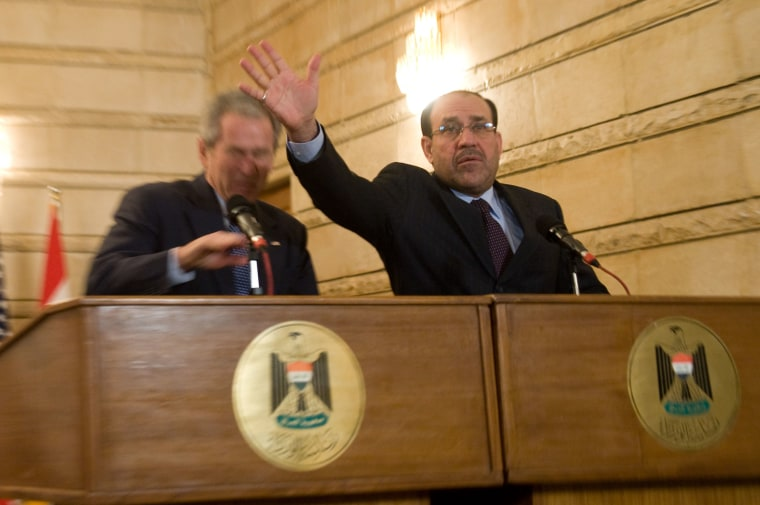 Image: Nouri al-Maliki and George W. Bush