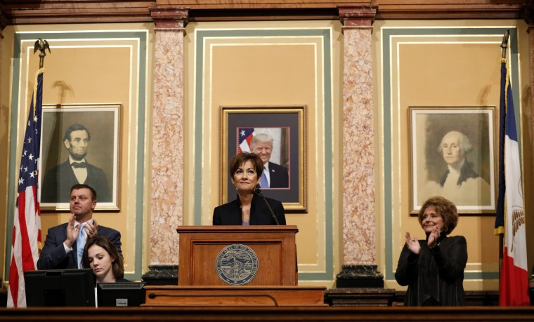 Image: Iowa Gov. Kim Reynolds delivers her Condition of the State address