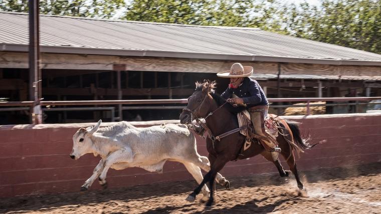 Image: A man rides a horse at the San Antonio Charro Ranch in San Antonio, Texas on Nov. 18, 2017.