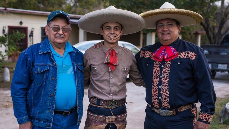 Image: Edmundo Rios I, Edmundo Rios III and Edmundo Rios II at the San Antonio Charro Ranch in San Antonio, Texas on Nov. 19. 2017.