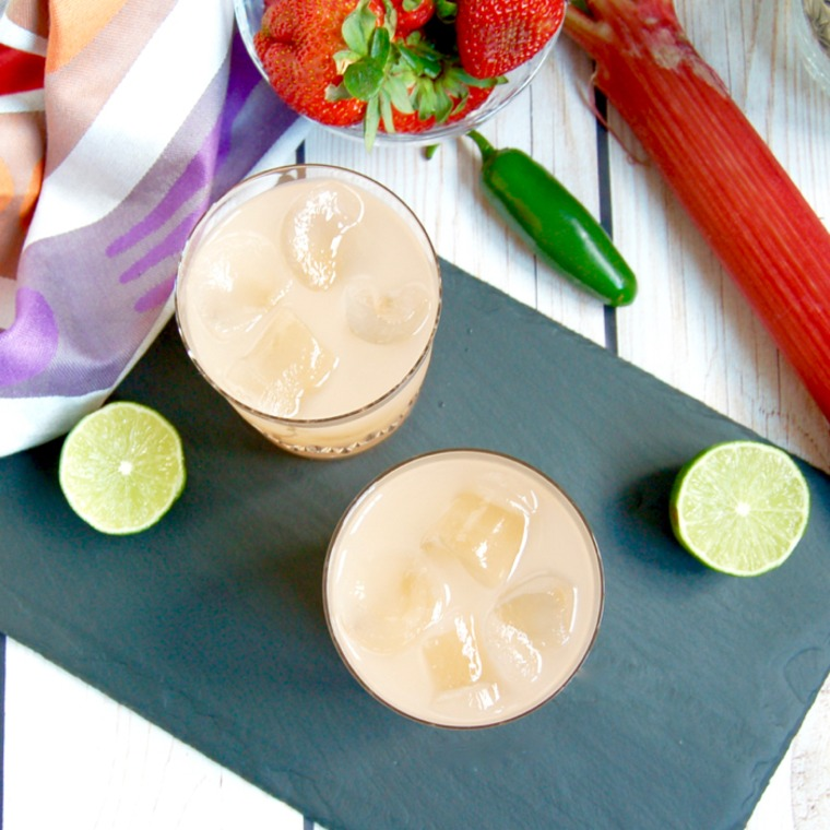 Spicy Strawberry Rhubarb Margaritas