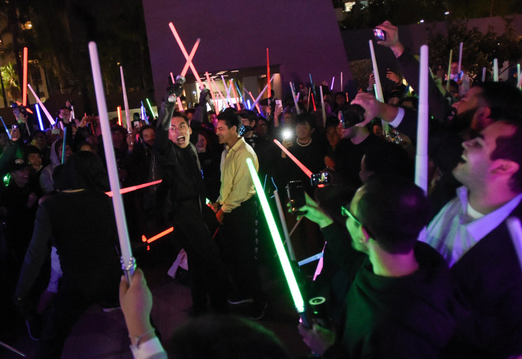 Image: Fans gather for a Star Wars lightsaber battle in Los Angeles