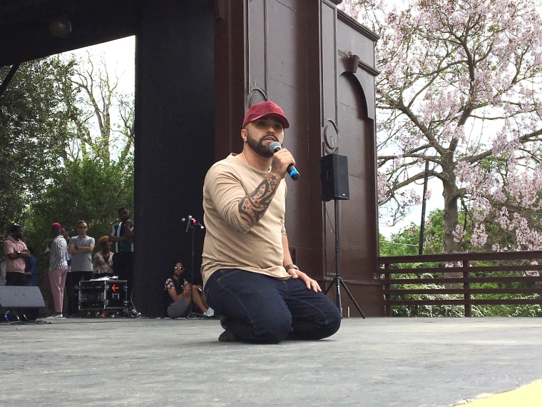 Image: Luis Javier Ruiz speaking at the Freedom March in Washington D.C. on May 5, 2018.