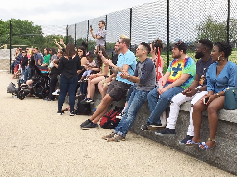 Image: People watching and listening during praise and worship ahead of the Freedom March in Washington D.C. on May 5, 2018.