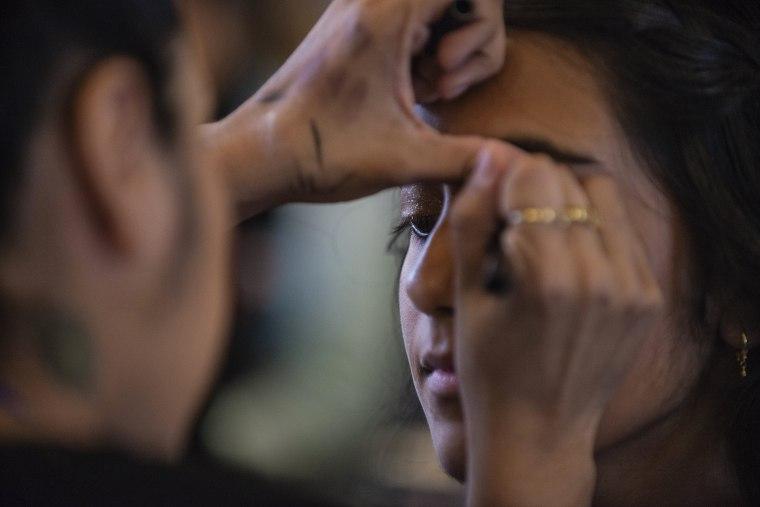 Image: Anisha Saripalli has her make up done