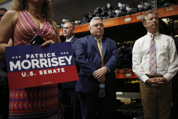 Image: Patrick Morrisey and Senator Rand Paul hold a campaign rally