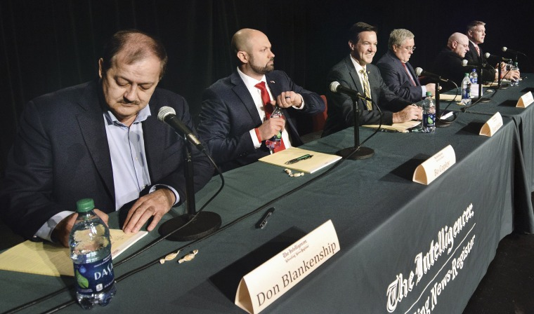 Image: Republican candidates for the West Virginia Senate seat hold a debate