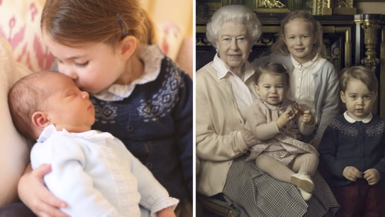 Princess Charlotte and Prince Louis in new photo, and in older portrait with Queen Elizabeth.