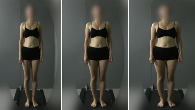 A team at Oxford University showed women images of other normal-weight women that were altered to make them look either thinner (to the left) or heavier( to the right)