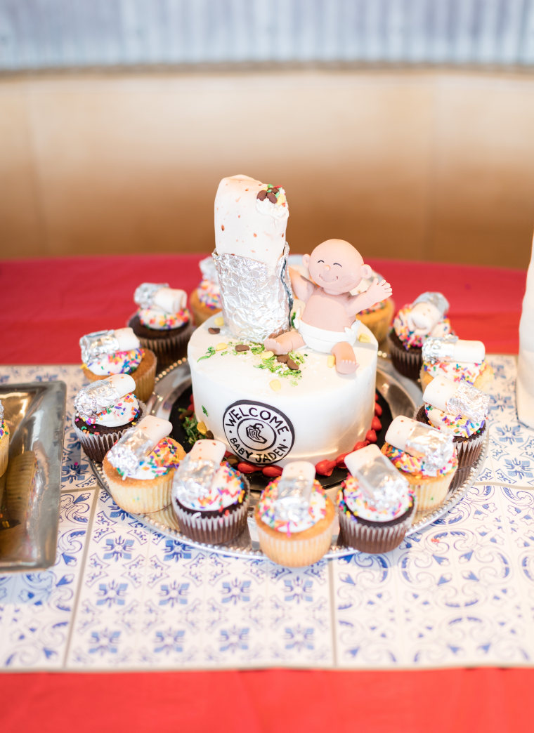 Chipotle threw a surprise baby shower for Alvarez and Flores, complete with burrito cupcakes.