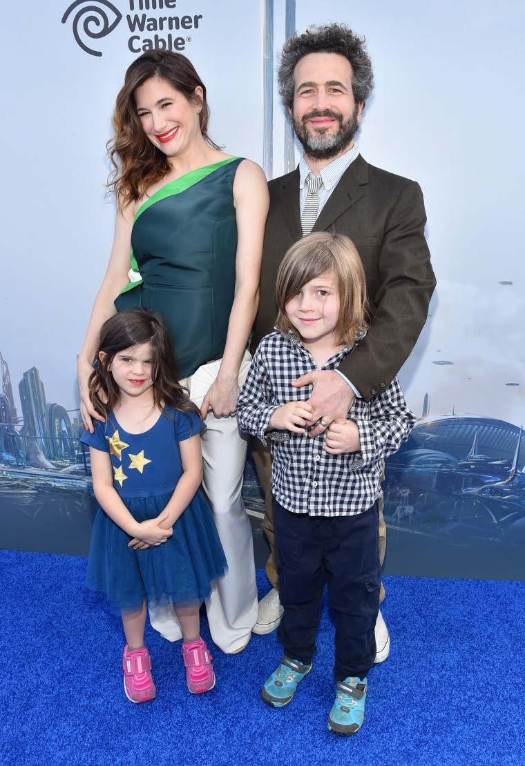 Kathryn Hahn with her husband, Ethan Sandler, and their son and daughter