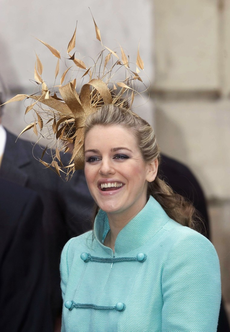 Laura Parker Bowles attends the Civil Ceremony for the marriage between HRH Prince Charles, the Prince of Wales, and her mother, Camilla Parker Bowles, at The Guildhall, Windsor on April 9, 2005 in Berkshire, England.
