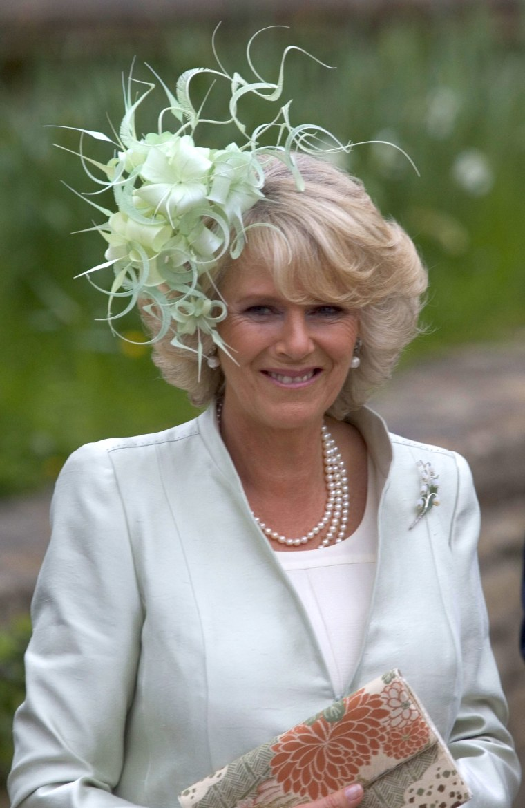 The Duchess Of Cornwall Attends The Wedding Of Laura Parker Bowles & Harry Lopes At St Cyriacs Church, Lacock, Wiltshire.