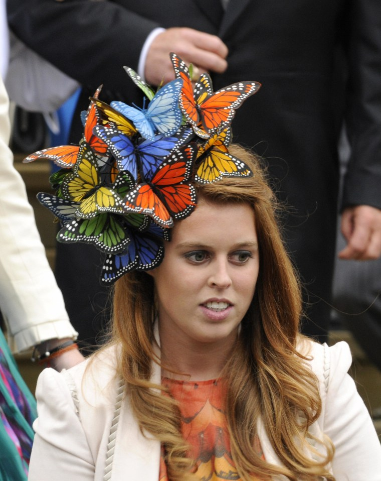 Britain's Princess Beatrice attends the wedding of Peter Phillips 30, to Autumn Kelly 31, at St George's Chapel in Windsor on May 17, 2008. The bride recently converted from Roman Catholicism to Anglicanism so that her husband, son of the Princess Royal, Princess Anne, will not have to renounce his right of royal succession.