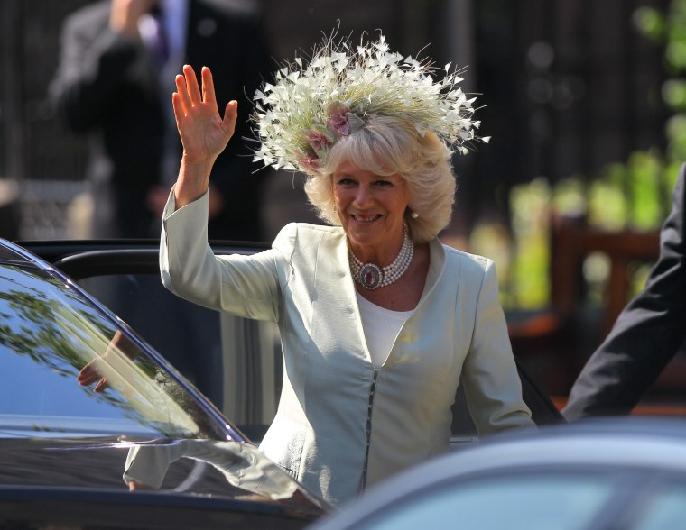 Camilla, Duchess of Cornwall arrives for the Royal wedding of Zara Phillips and Mike Tindall at Canongate Kirk on July 30, 2011 in Edinburgh, Scotland. The Queen's granddaughter Zara Phillips will marry England rugby player Mike Tindall today at Canongate Kirk. Many royals are expected to attend including the Duke and Duchess of Cambridge.