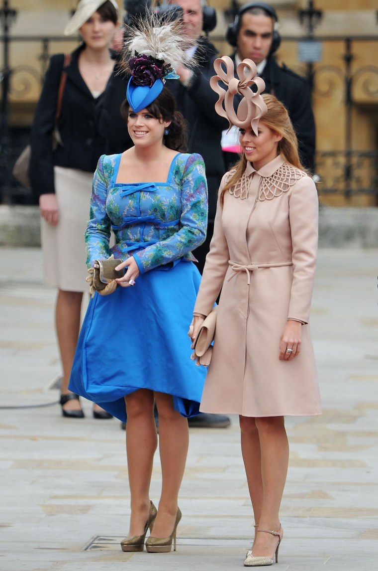 Princess Eugenie of York and Princess Beatrice of York arrive to attend the Royal Wedding of Prince William to Catherine Middleton at Westminster Abbey on April 29, 2011 in London.