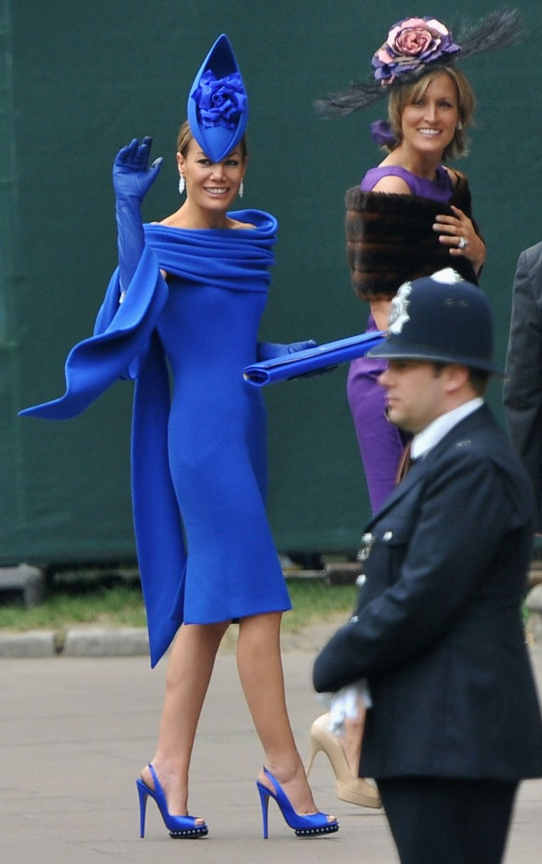 Tara Palmer-Tomkinson arrives to attend the Royal Wedding of Prince William to Catherine Middleton at Westminster Abbey on April 29, 2011 in London.