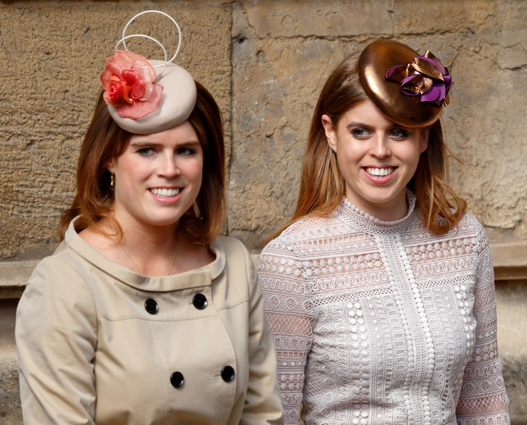Princess Eugenie and Princess Beatrice attend the traditional Easter Sunday church service at St George's Chapel, Windsor Castle on April 16, 2017 in Windsor, England.