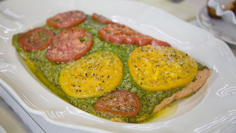 Sami Kotb's Salmon with Pesto and Sliced Tomatoes