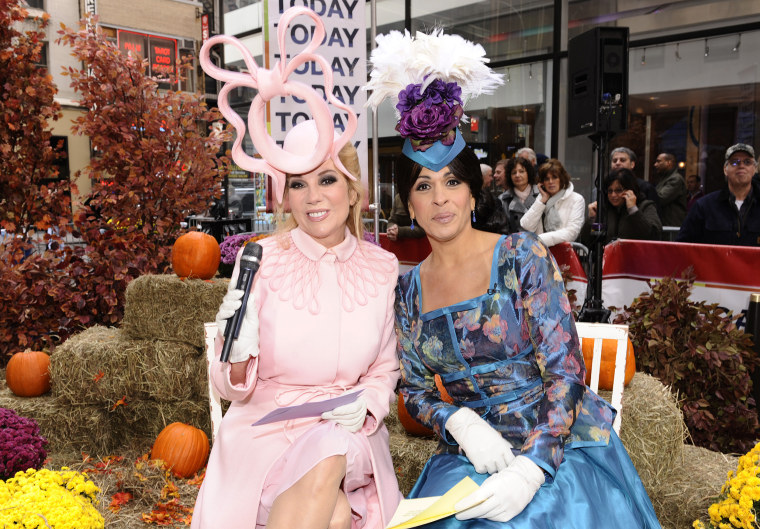 "Kathie Lee Gifford as Princess Beatrice and Hoda Kotb as Princess Eugenie appear on NBC News' ""Today"" show"