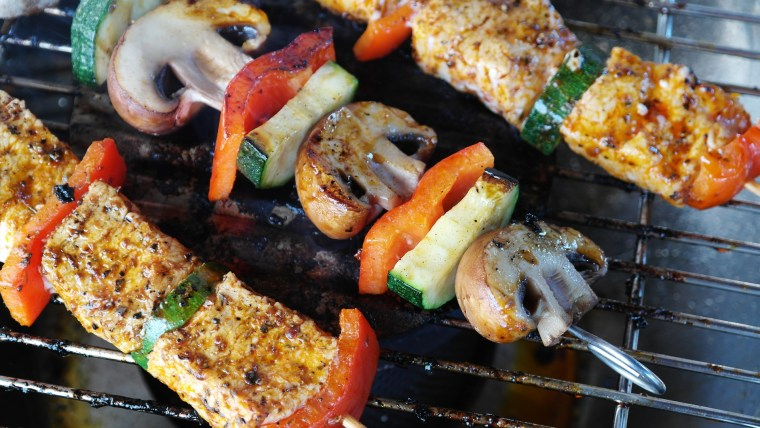 shish-kabobs on the grill