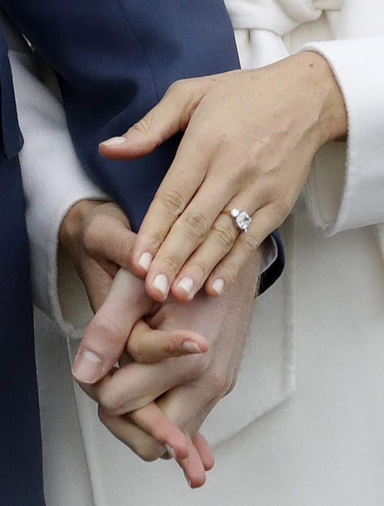 The outer diamonds on Duchess Meghan's engagement ring are from Princess Diana's personal collection.