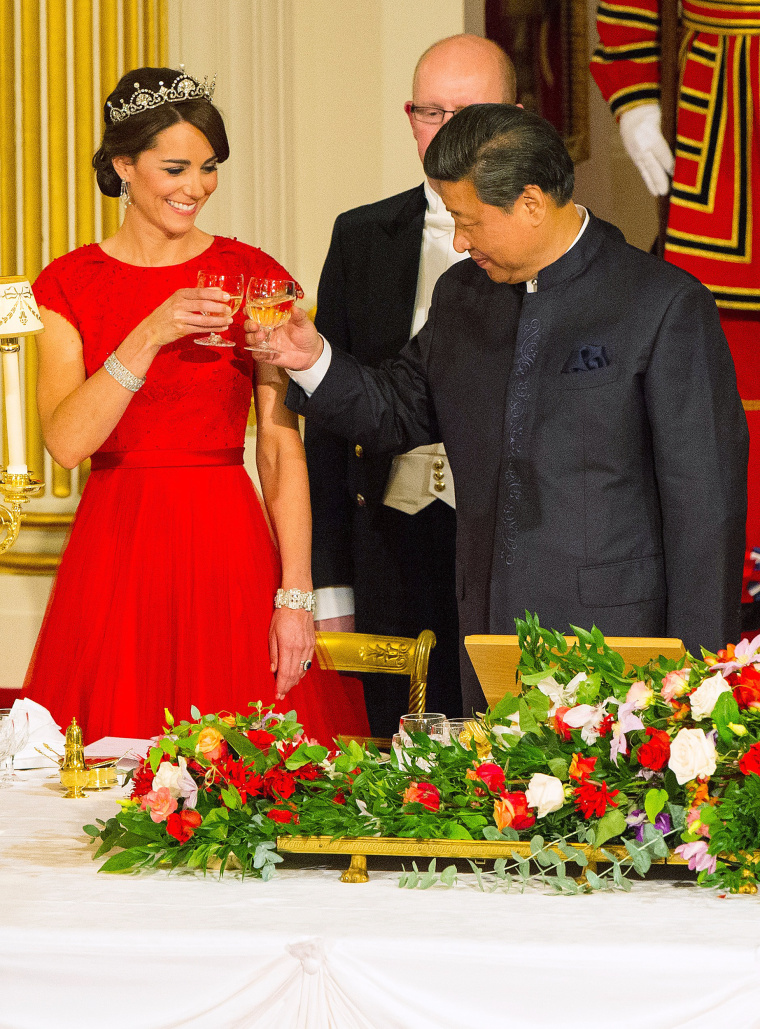 The Duchess of Cambridge wore the Lotus flower tiara, borrowed from Queen Elizabeth, to a state banquet at Buckingham Palace in 2015.
