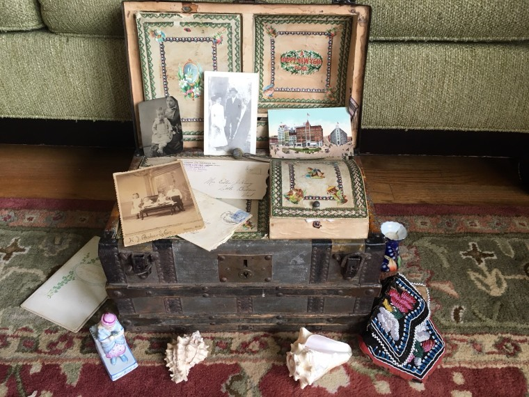 The antique trunk belonged to Linda Dahlstrom Anderson's great grandmother and is filled with family treasures...and secrets.