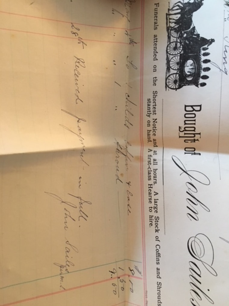 A receipt for Laura's coffin and shroud after she died at the age of 3.