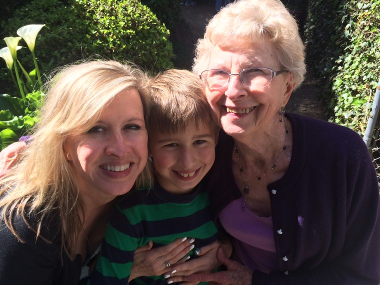 Three generations: Linda Dahlstrom Anderson, Gabriel Anderson and Beth Dahlstrom, together on Mother's Day 2017.