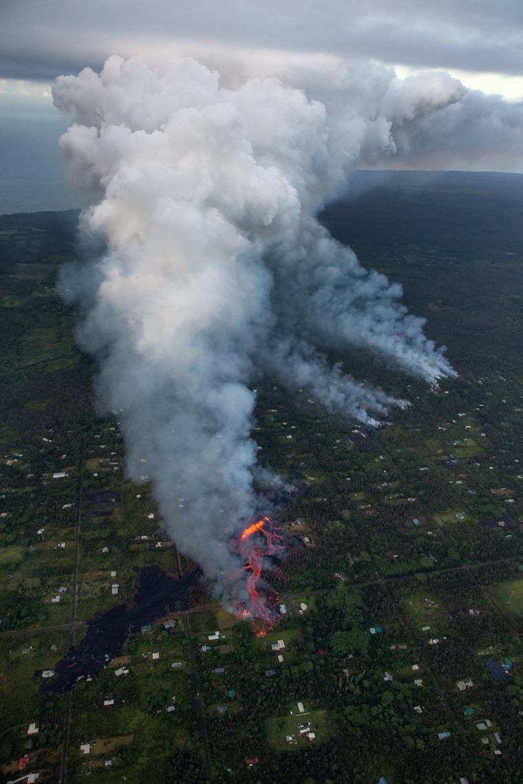 Image: Fissure eruptions cause lava to flow into the Leilani Estates subdivision