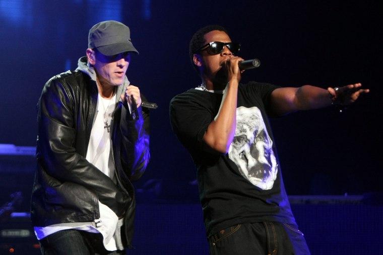 Image: Rappers Jay-Z and Eminem perform together