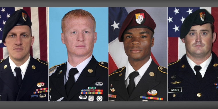 From left, Staff Sgt. Bryan C. Black, Staff Sgt. Jeremiah W. Johnson, Sgt. La David Johnson and Staff Sgt. Dustin M. Wright were killed in Niger when a joint patrol of American and Niger forces was ambushed by militants believed to be linked to the Islamic State group.