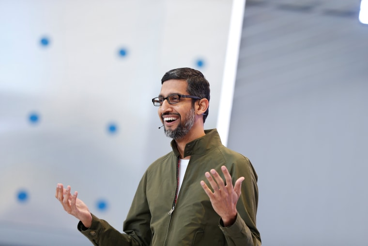 Image: Google CEO Sundar Pichai speaks onstage during the annual Google I/O developers conference in Mountain View