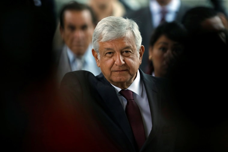 Image: Leftist front-runner Andres Manuel Lopez Obrador of the National Regeneration Movement attends the 16th National Tourism Forum at the Chapultepec Castle in Mexico City