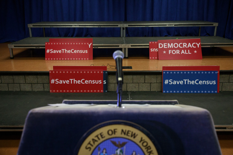 Image: Before a Schneiderman press conference regarding census questions