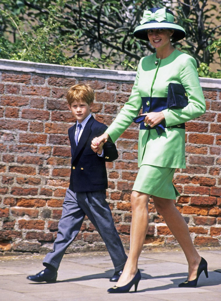 Image: Diana, Princess of Wales and Prince Harry walk to St George's Chapel