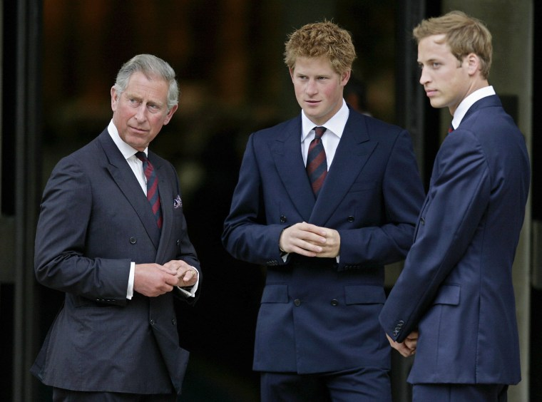 Image: Britain's Prince Charles (L) and his two