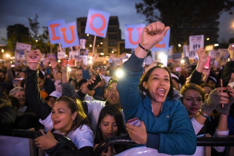Image: Centro Democratico supporters hold a rally