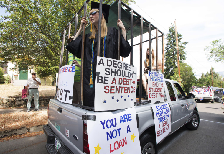Image: People protest against high student loan burdens