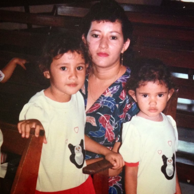 Carol's Montes at age three with her mother Trinidad Montes and her older sister Carol Montes at a church in Compton, California in 1988.